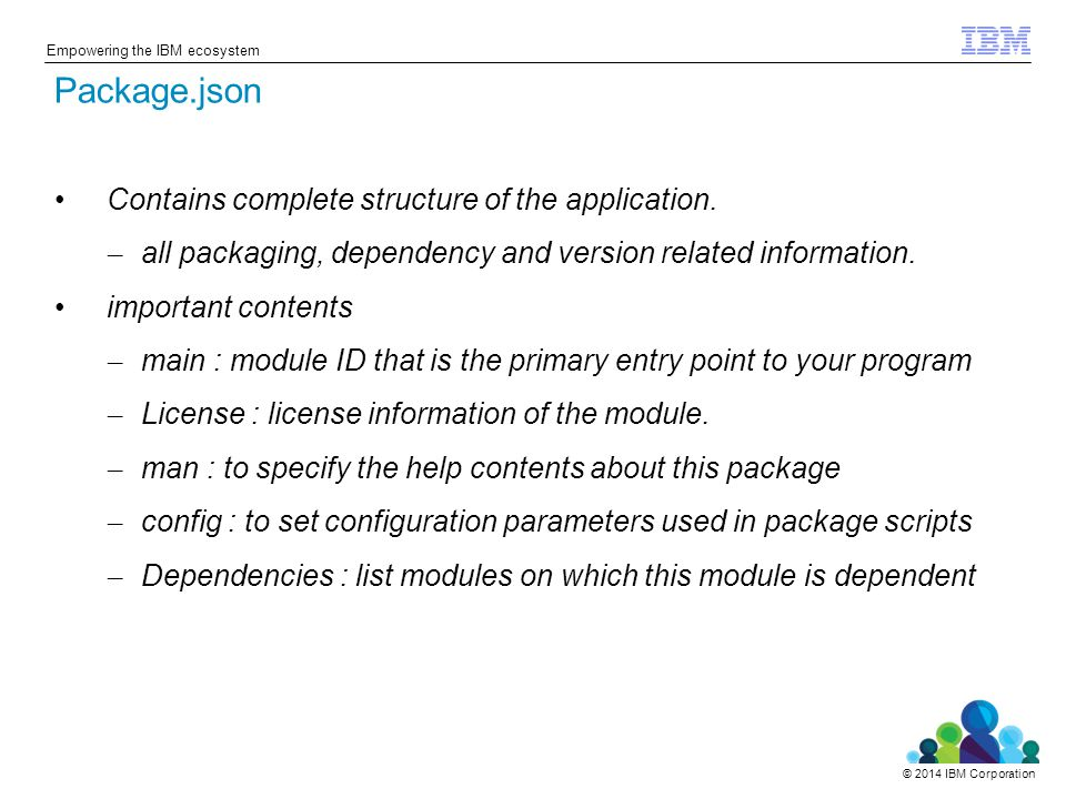 © 2014 IBM Corporation Empowering the IBM ecosystem Contains complete structure of the application.