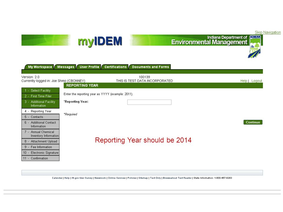 Reporting Year should be 2014
