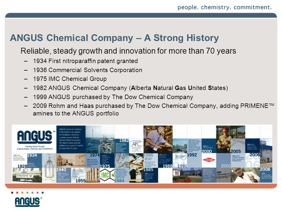 ANGUS Chemical Company – A Strong History Reliable, steady growth and innovation for more than 70 years –1934 First nitroparaffin patent granted –1936