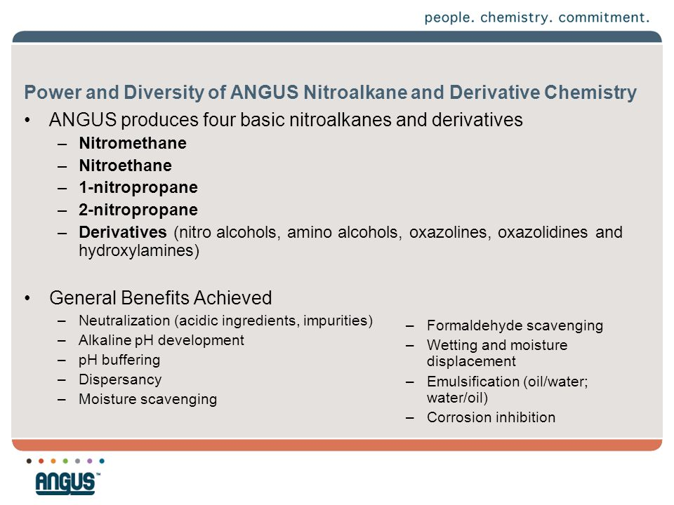 Power and Diversity of ANGUS Nitroalkane and Derivative Chemistry ANGUS produces four basic nitroalkanes and derivatives –Nitromethane –Nitroethane –1