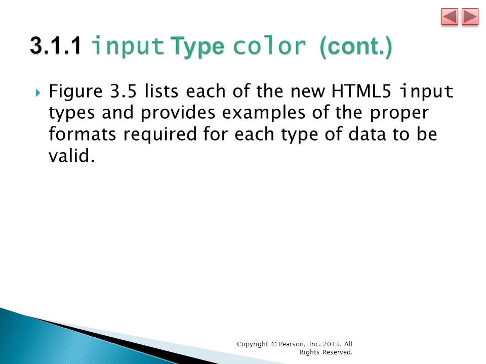  Figure 3.5 lists each of the new HTML5 input types and provides examples of the proper formats required for each type of data to be valid.