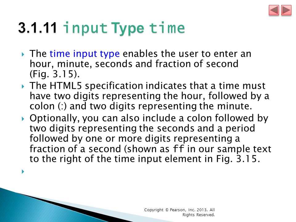  The time input type enables the user to enter an hour, minute, seconds and fraction of second (Fig.