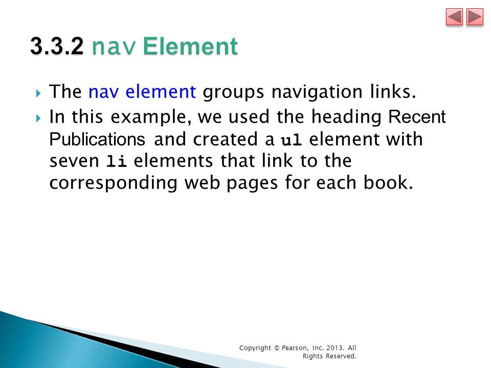  The nav element groups navigation links.