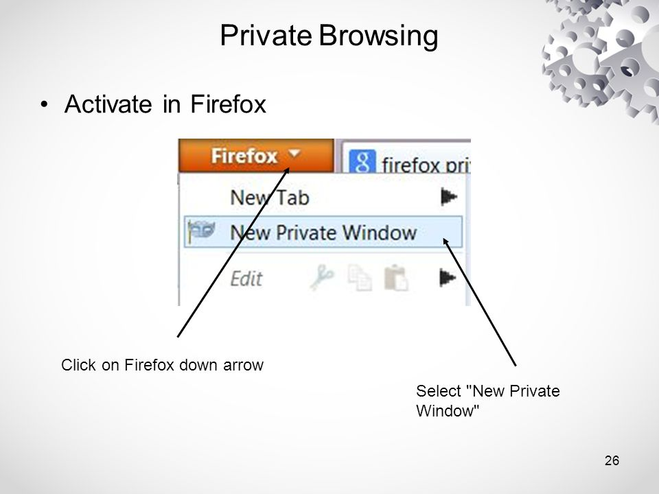 Private Browsing Activate in Firefox Click on Firefox down arrow Select New Private Window 26