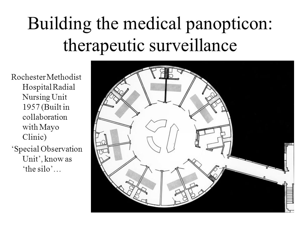 Building the medical panopticon: therapeutic surveillance Rochester Methodist Hospital Radial Nursing Unit 1957 (Built in collaboration with Mayo Clinic) 'Special Observation Unit', know as 'the silo'…