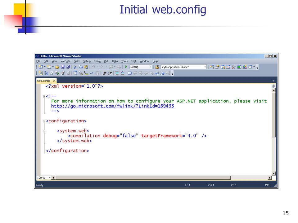 15 Initial web.config