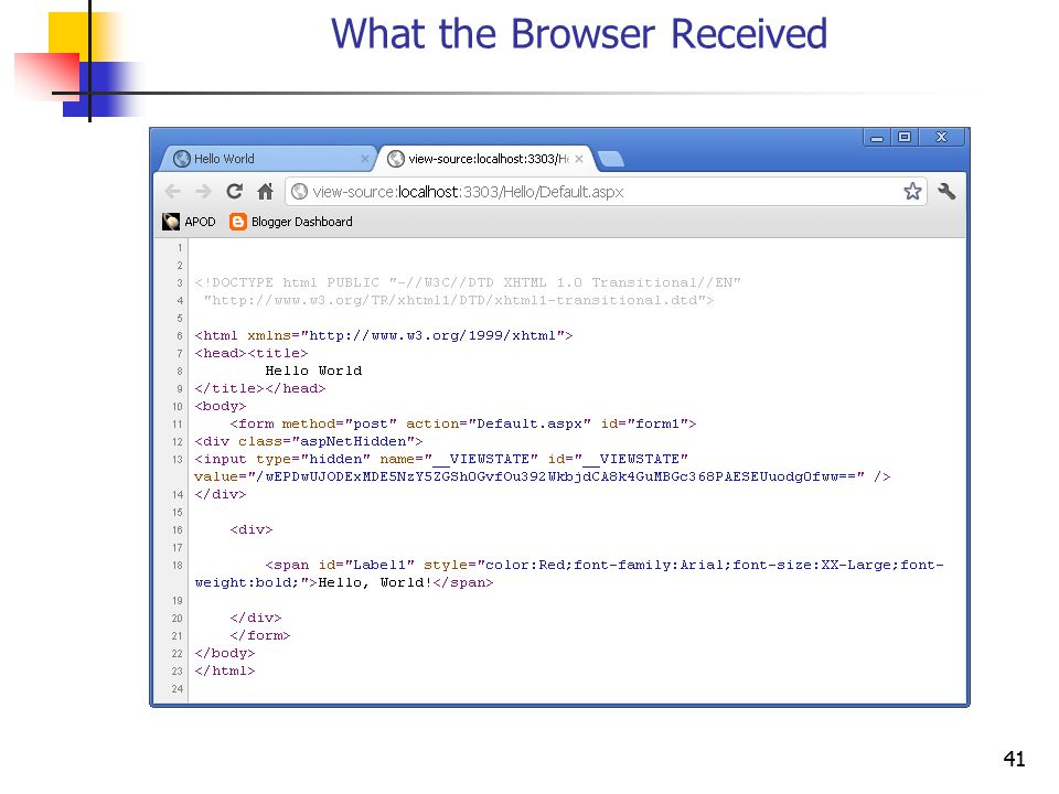 41 What the Browser Received