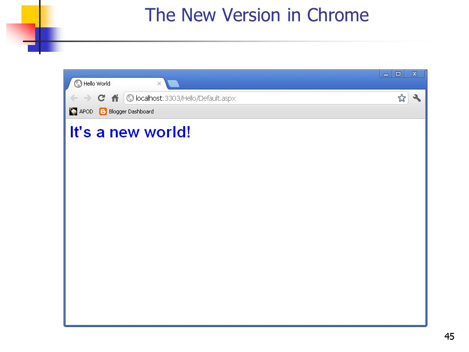 45 The New Version in Chrome