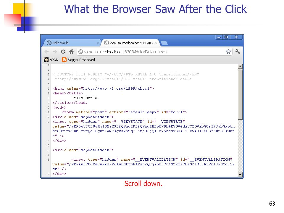 63 What the Browser Saw After the Click Scroll down.