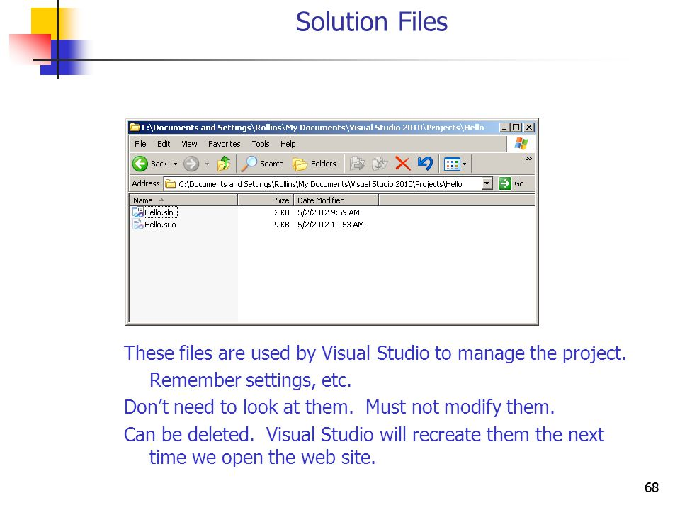68 Solution Files These files are used by Visual Studio to manage the project.