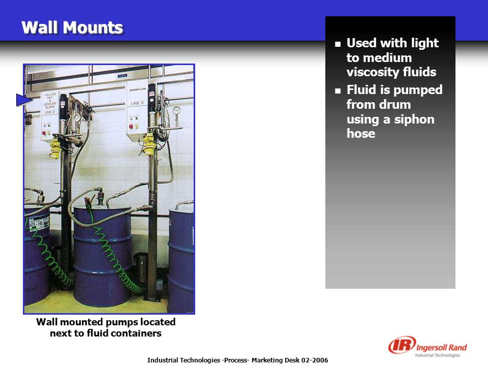 Industrial Technologies -Process- Marketing Desk 02-2006 Wall Mounts n Used with light to medium viscosity fluids n Fluid is pumped from drum using a siphon hose Wall mounted pumps located next to fluid containers