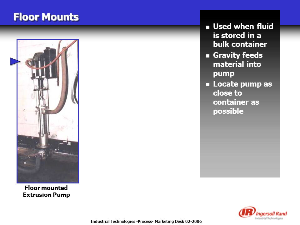 Industrial Technologies -Process- Marketing Desk 02-2006 Floor Mounts n Used when fluid is stored in a bulk container n Gravity feeds material into pump n Locate pump as close to container as possible Floor mounted Extrusion Pump