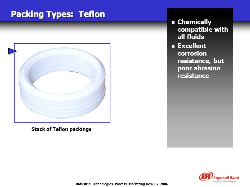 Industrial Technologies -Process- Marketing Desk 02-2006 Packing Types: Teflon Stack of Teflon packings n Chemically compatible with all fluids n Exce