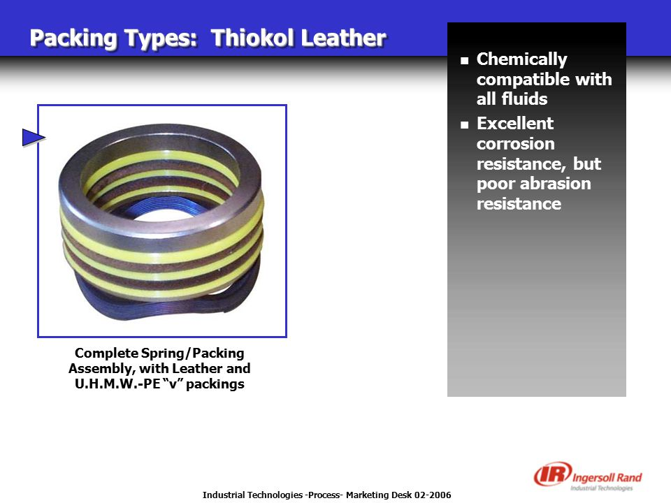 Industrial Technologies -Process- Marketing Desk 02-2006 Packing Types: Thiokol Leather Complete Spring/Packing Assembly, with Leather and U.H.M.W.-PE v packings n Chemically compatible with all fluids n Excellent corrosion resistance, but poor abrasion resistance
