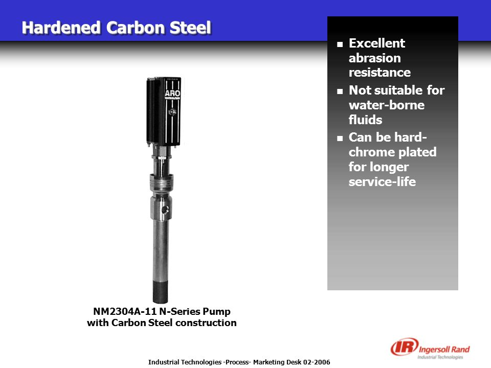 Industrial Technologies -Process- Marketing Desk 02-2006 Hardened Carbon Steel NM2304A-11 N-Series Pump with Carbon Steel construction n Excellent abr