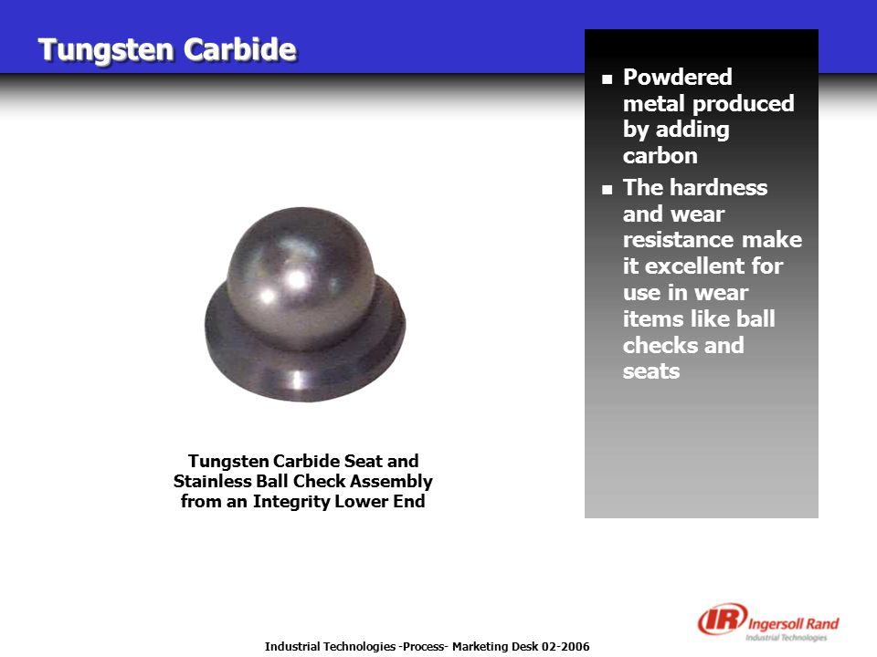 Industrial Technologies -Process- Marketing Desk 02-2006 Tungsten Carbide Tungsten Carbide Seat and Stainless Ball Check Assembly from an Integrity Lower End n Powdered metal produced by adding carbon n The hardness and wear resistance make it excellent for use in wear items like ball checks and seats
