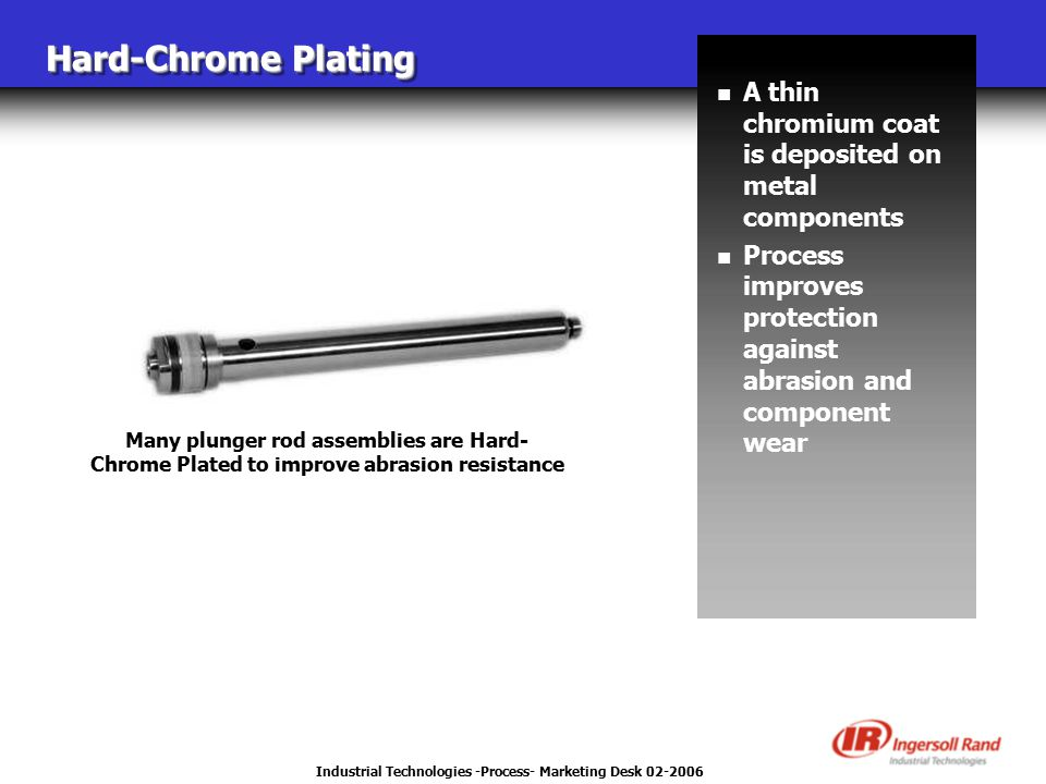 Industrial Technologies -Process- Marketing Desk 02-2006 Many plunger rod assemblies are Hard- Chrome Plated to improve abrasion resistance Hard-Chrom