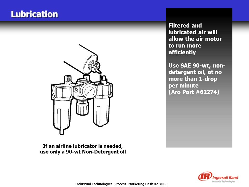 Industrial Technologies -Process- Marketing Desk 02-2006 LubricationLubrication Filtered and lubricated air will allow the air motor to run more effic