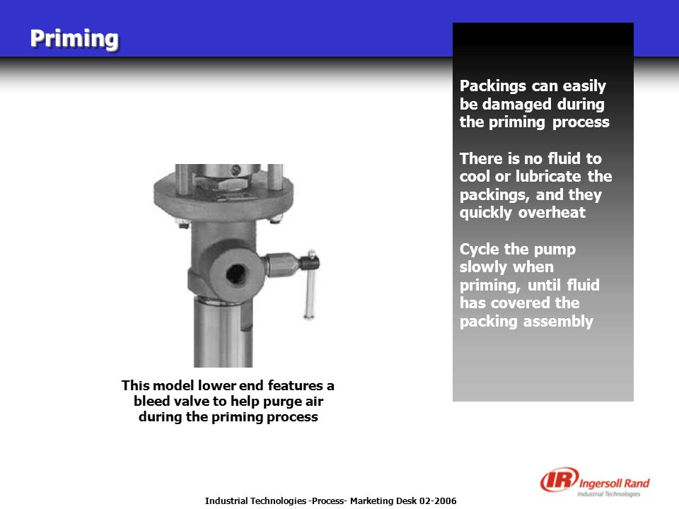 Industrial Technologies -Process- Marketing Desk 02-2006 PrimingPriming Packings can easily be damaged during the priming process There is no fluid to cool or lubricate the packings, and they quickly overheat Cycle the pump slowly when priming, until fluid has covered the packing assembly This model lower end features a bleed valve to help purge air during the priming process