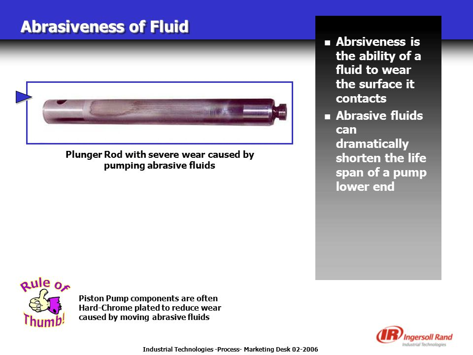 Industrial Technologies -Process- Marketing Desk 02-2006 Abrasiveness of Fluid n Abrsiveness is the ability of a fluid to wear the surface it contacts