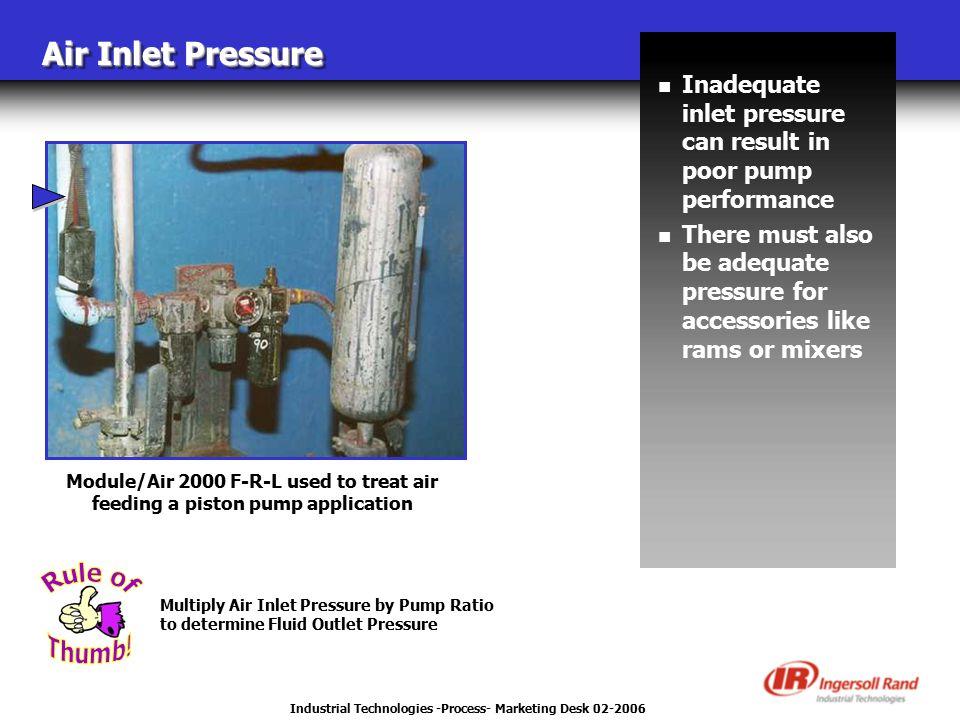 Industrial Technologies -Process- Marketing Desk 02-2006 Air Inlet Pressure n Inadequate inlet pressure can result in poor pump performance n There mu