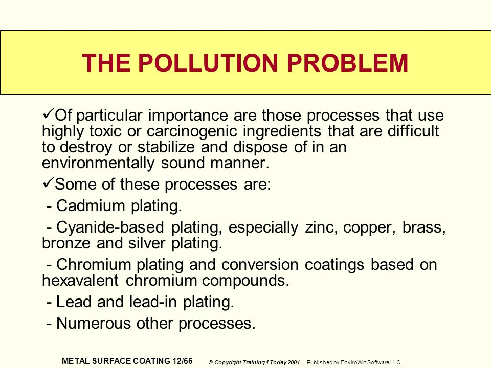 METAL SURFACE COATING 12/66 © Copyright Training 4 Today 2001 Published by EnviroWin Software LLC. THE POLLUTION PROBLEM Of particular importance are