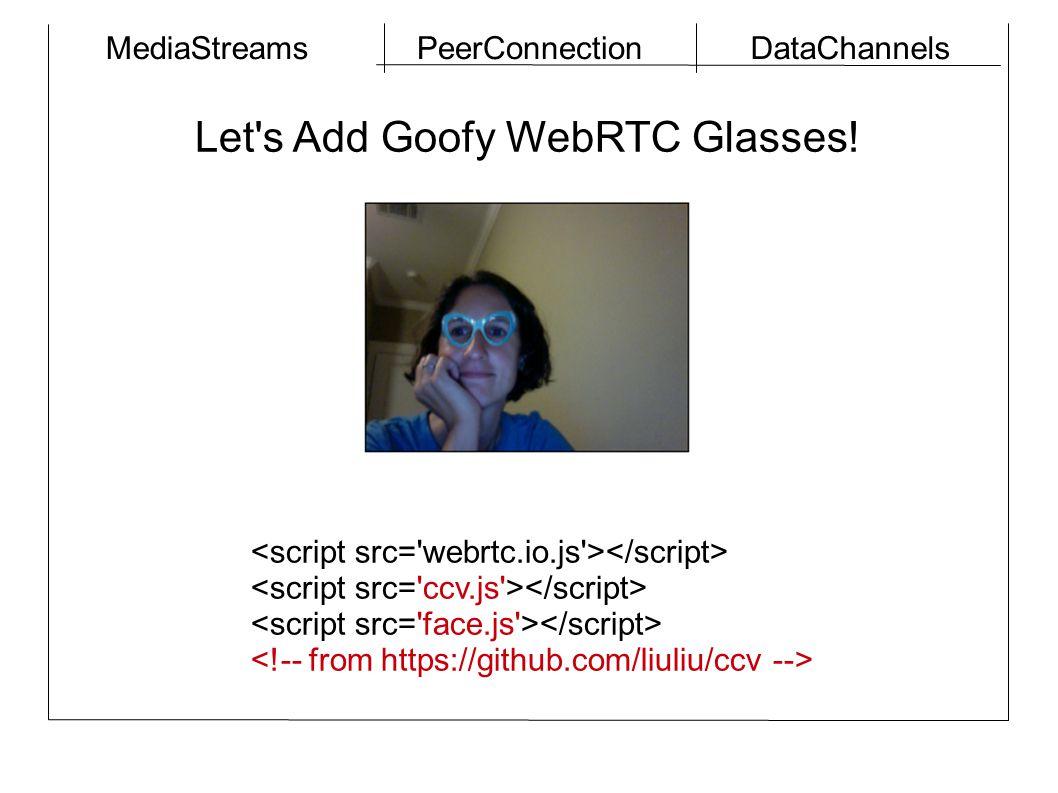 MediaStreamsPeerConnectionDataChannels Let s Add Goofy WebRTC Glasses!
