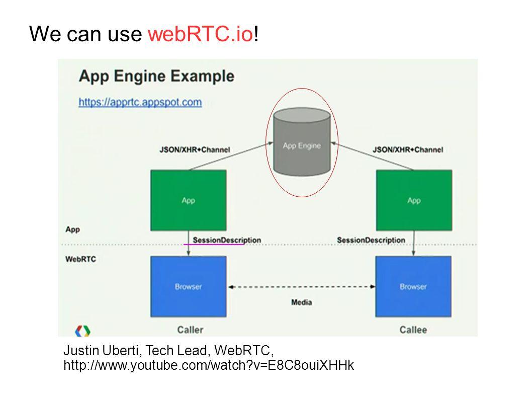Justin Uberti, Tech Lead, WebRTC, http://www.youtube.com/watch v=E8C8ouiXHHk We can use webRTC.io!