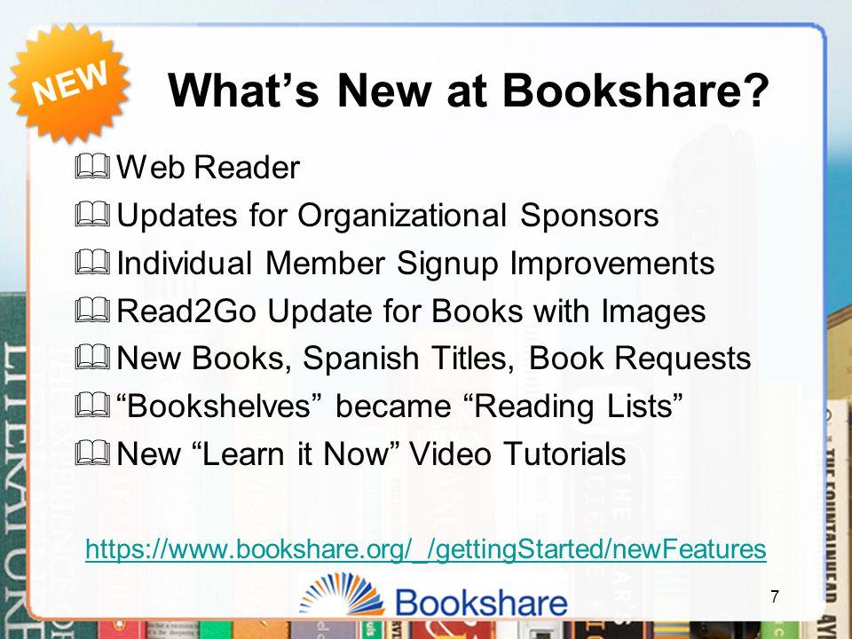 What's New at Bookshare.