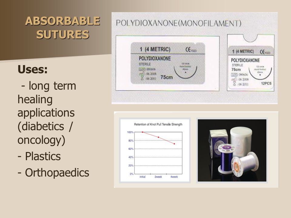 ABSORBABLE SUTURES Uses: - long term healing applications (diabetics / oncology) - Plastics - Orthopaedics
