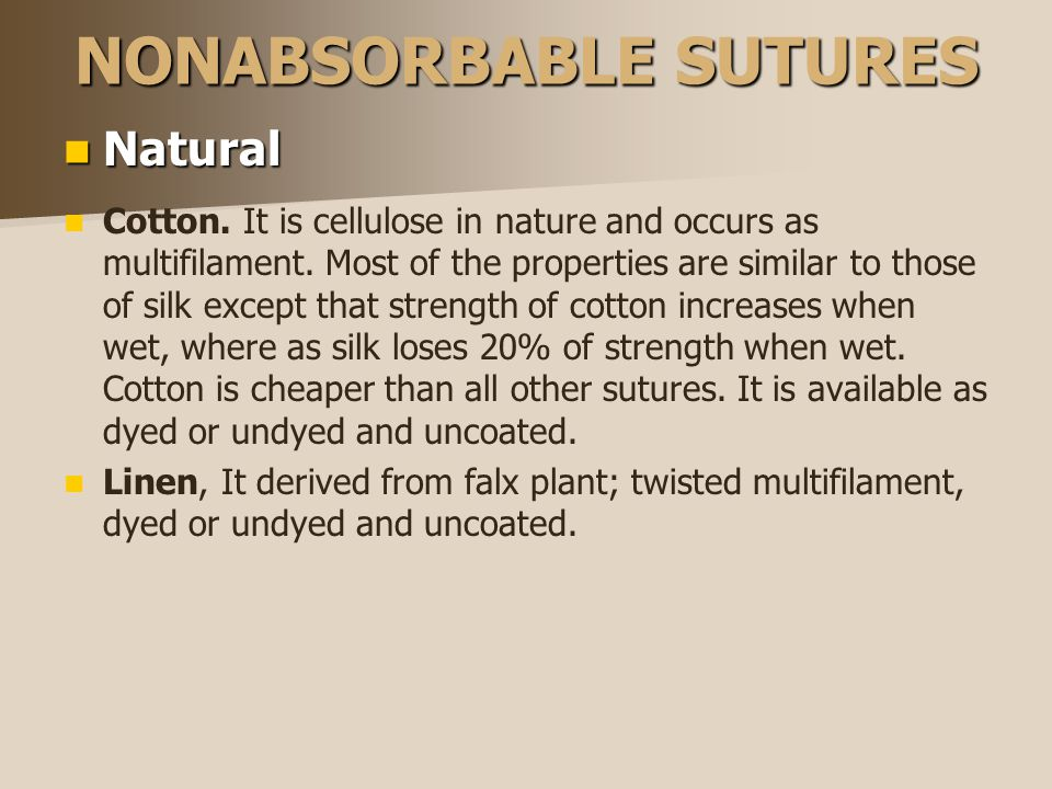 NONABSORBABLE SUTURES Natural Natural Cotton.