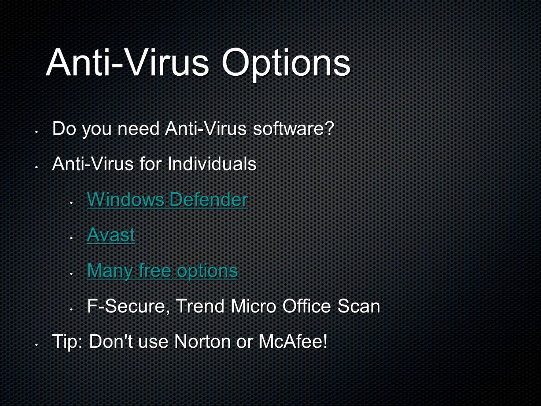 Anti-Virus Options Anti-Virus Options Do you need Anti-Virus software? Do you need Anti-Virus software? Anti-Virus for Individuals Anti-Virus for Indi