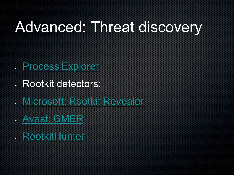 Advanced: Threat discovery Process Explorer Process Explorer Process Explorer Process Explorer Rootkit detectors: Rootkit detectors: Microsoft: Rootki