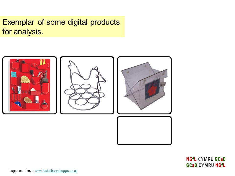 Exemplar of some digital products for analysis.