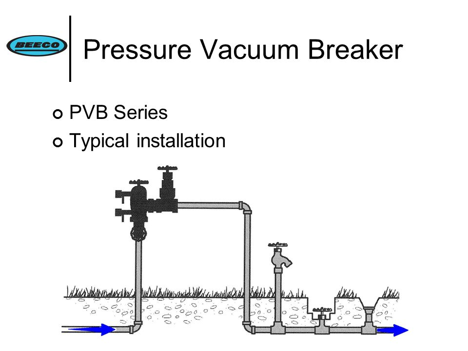 Pressure Vacuum Breaker PVB Series Typical installation