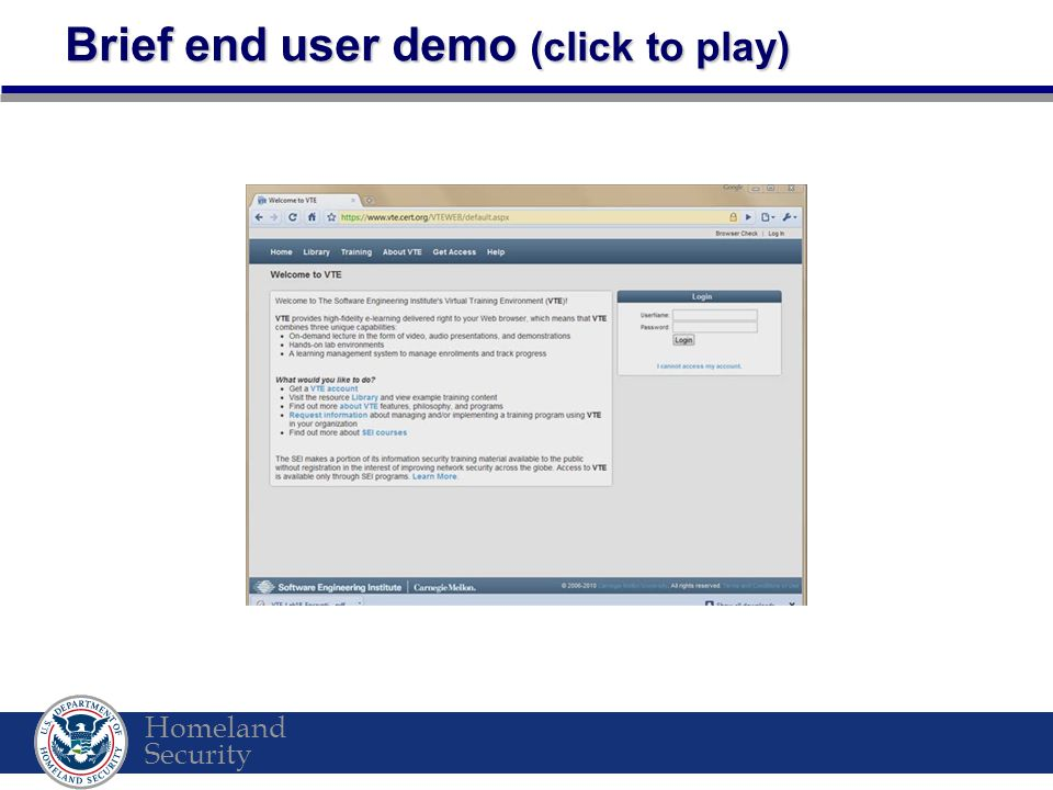 Homeland Security Brief end user demo (click to play)