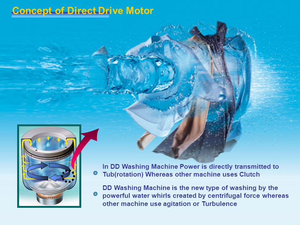 Concept of Direct Drive Motor DD Washing Machine is the new type of washing by the powerful water whirls created by centrifugal force whereas other ma