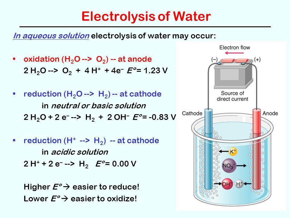 Electrolysis of Water In aqueous solution electrolysis of water may occur: oxidation (H 2 O --> O 2 ) -- at anode 2 H 2 O --> O 2 + 4 H + + 4e – Eº =