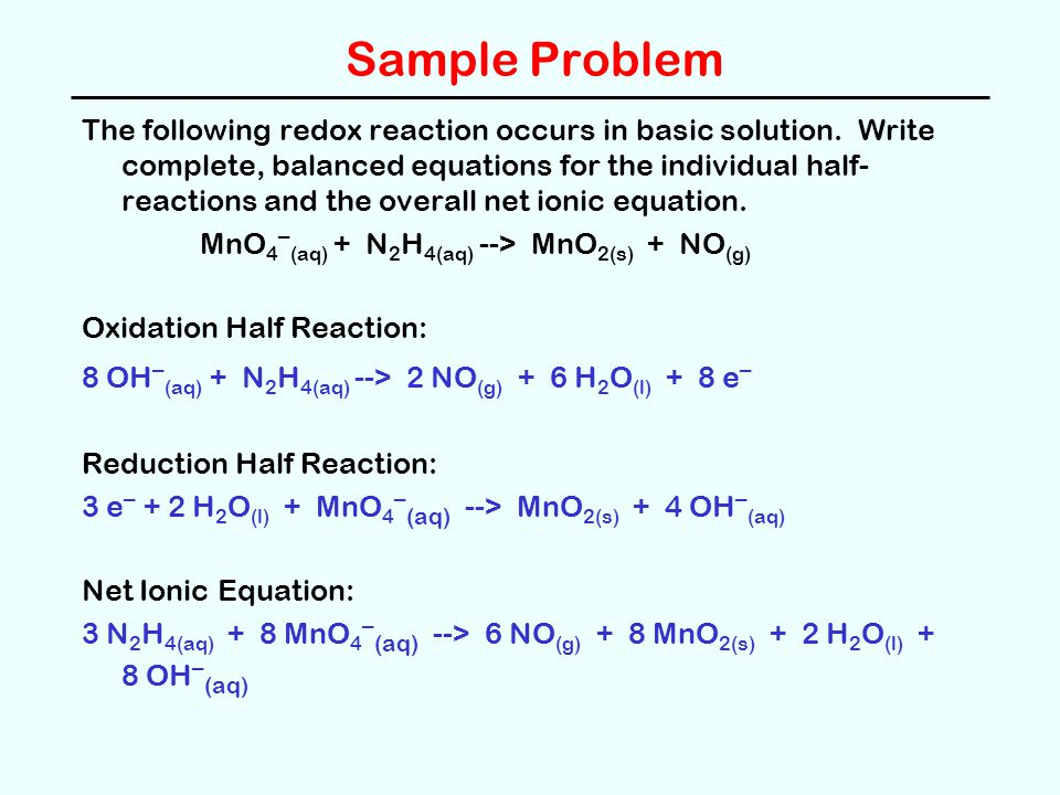 Sample Problem The following redox reaction occurs in basic solution. Write complete, balanced equations for the individual half- reactions and the ov