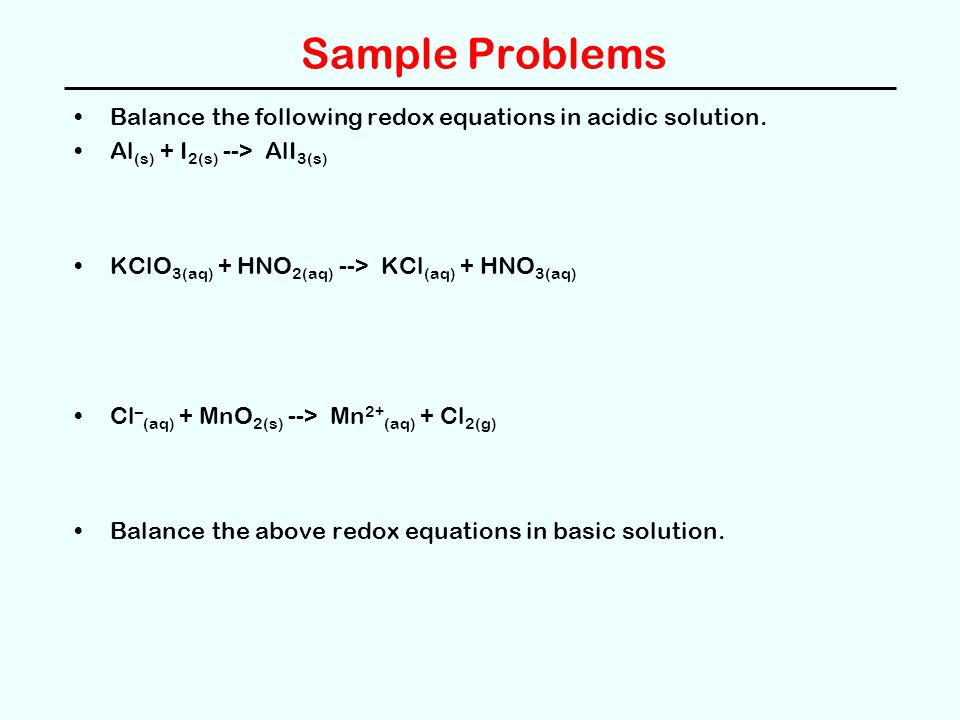 Electrolysis of Water In aqueous solution electrolysis of water may occur: oxidation (H 2 O --> O 2 ) -- at anode 2 H 2 O --> O 2 + 4 H + + 4e – Eº = 1.23 V reduction (H 2 O --> H 2 ) -- at cathode in neutral or basic solution 2 H 2 O + 2 e – --> H 2 + 2 OH – Eº = -0.83 V reduction (H + --> H 2 ) -- at cathode in acidic solution 2 H + + 2 e – --> H 2 Eº = 0.00 V Higher Eº  easier to reduce.