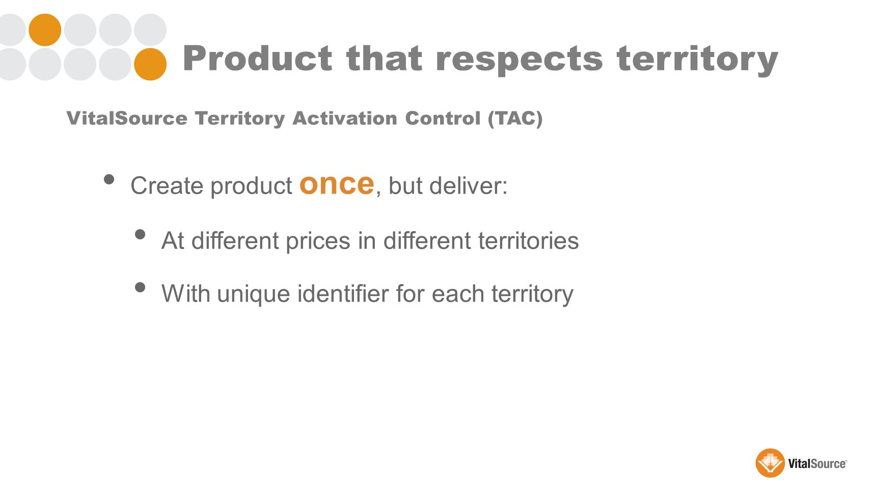Create product once, but deliver: At different prices in different territories With unique identifier for each territory VitalSource Territory Activation Control (TAC) Product that respects territory
