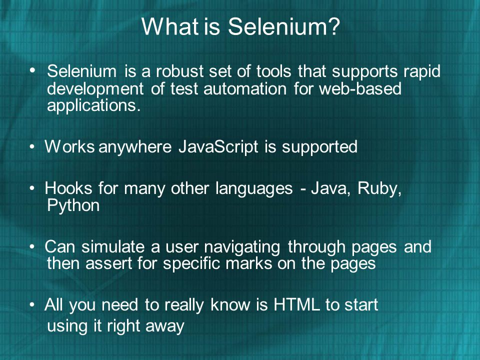 Selenium You can use open source - Selenium tool Selenium IDE is a plug-in to Firefox to record and playback tests (like WinRunner, QTP).