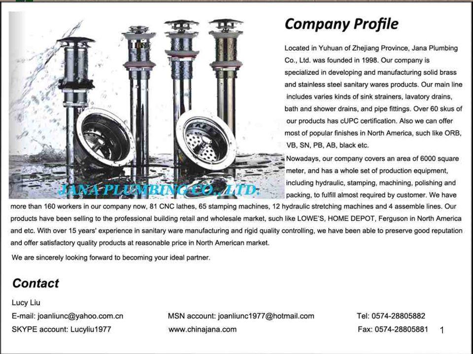 JANA PLUMBING 192 Brass Tubular JN-7021 Semi-cast P-Trap With Cleanout 17 GA,7-1/2 brass wall tube Metal nut Shallow flange Chrome plated Item Spec.