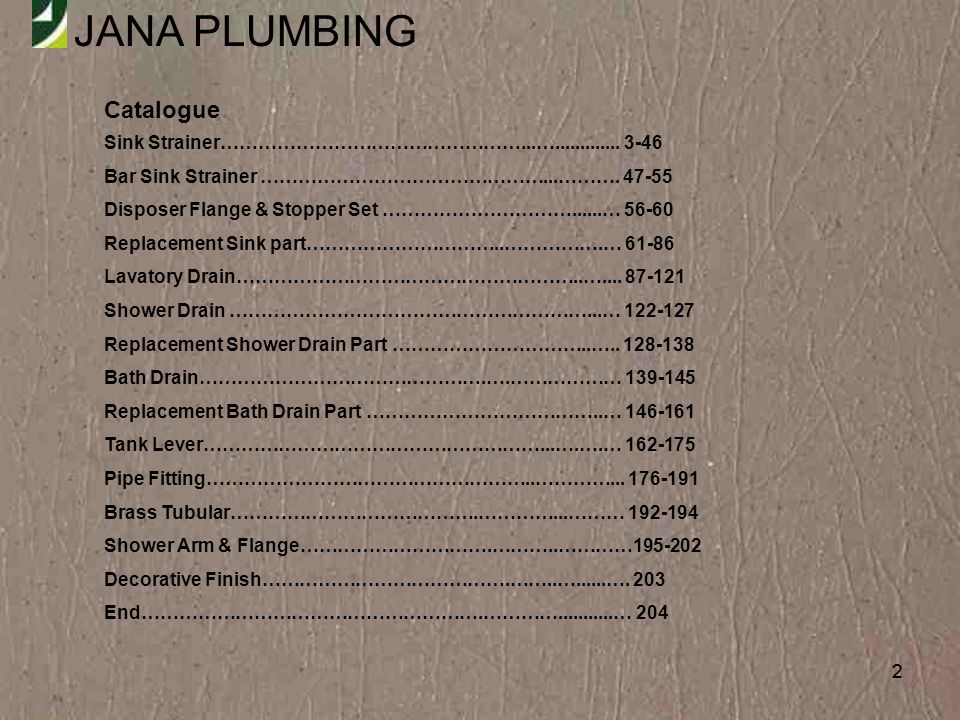 JANA PLUMBING 203 Decorative Finish 1.BISCUIT 2. BRUSH NICKEL 3.