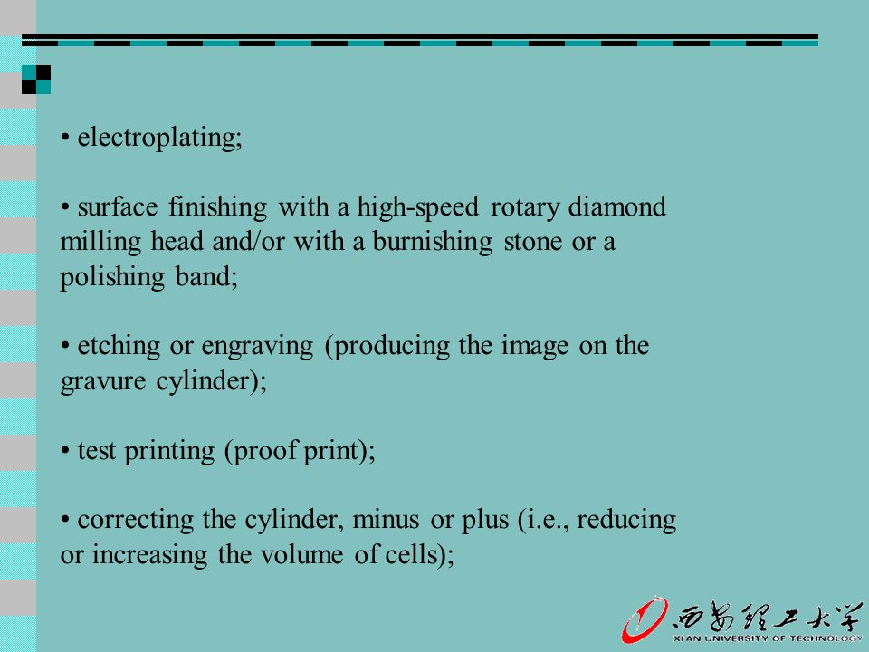 electroplating; surface finishing with a high-speed rotary diamond milling head and/or with a burnishing stone or a polishing band; etching or engravi