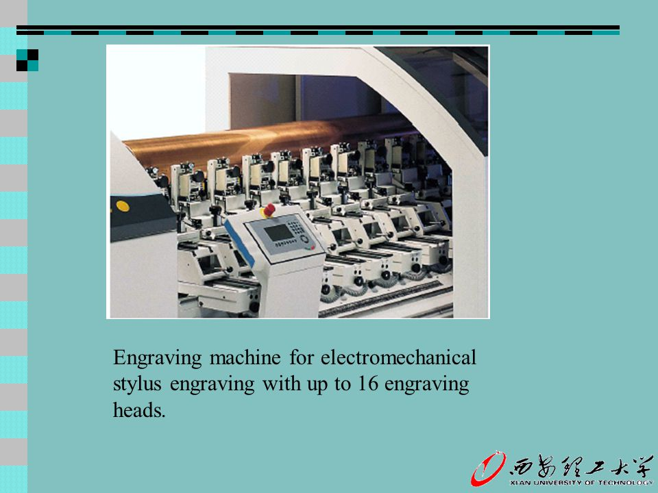 Engraving machine for electromechanical stylus engraving with up to 16 engraving heads.