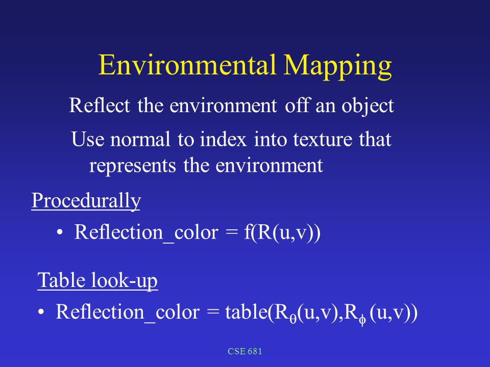 CSE 681 Environmental Mapping Reflect the environment off an object Procedurally Reflection_color = f(R(u,v)) Table look-up Reflection_color = table(R  (u,v),R  (u,v)) Use normal to index into texture that represents the environment
