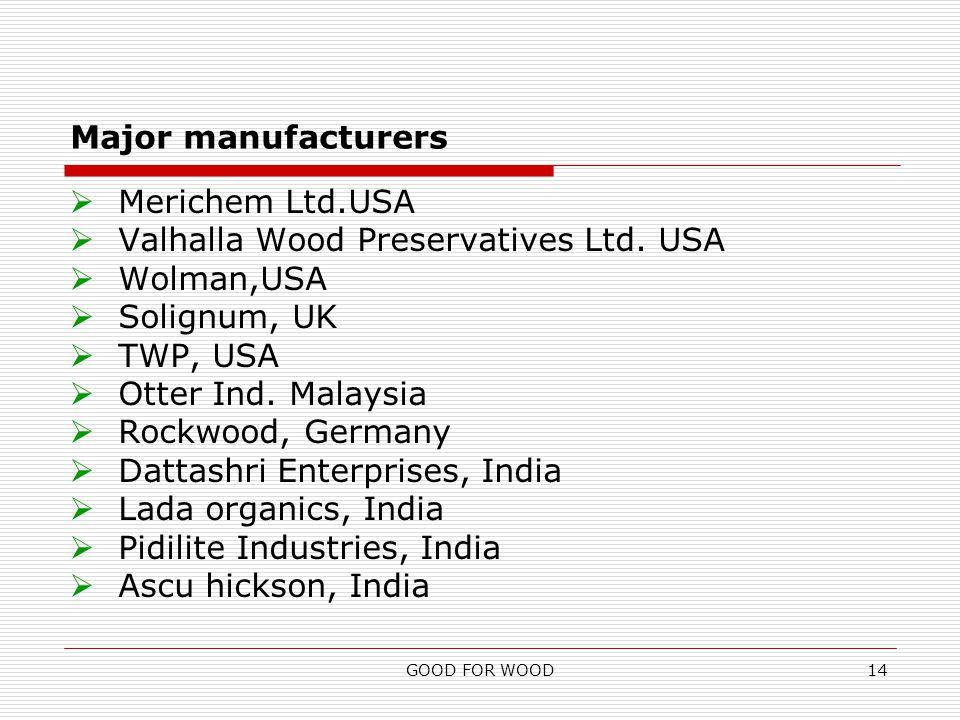 GOOD FOR WOOD14 Major manufacturers  Merichem Ltd.USA  Valhalla Wood Preservatives Ltd.