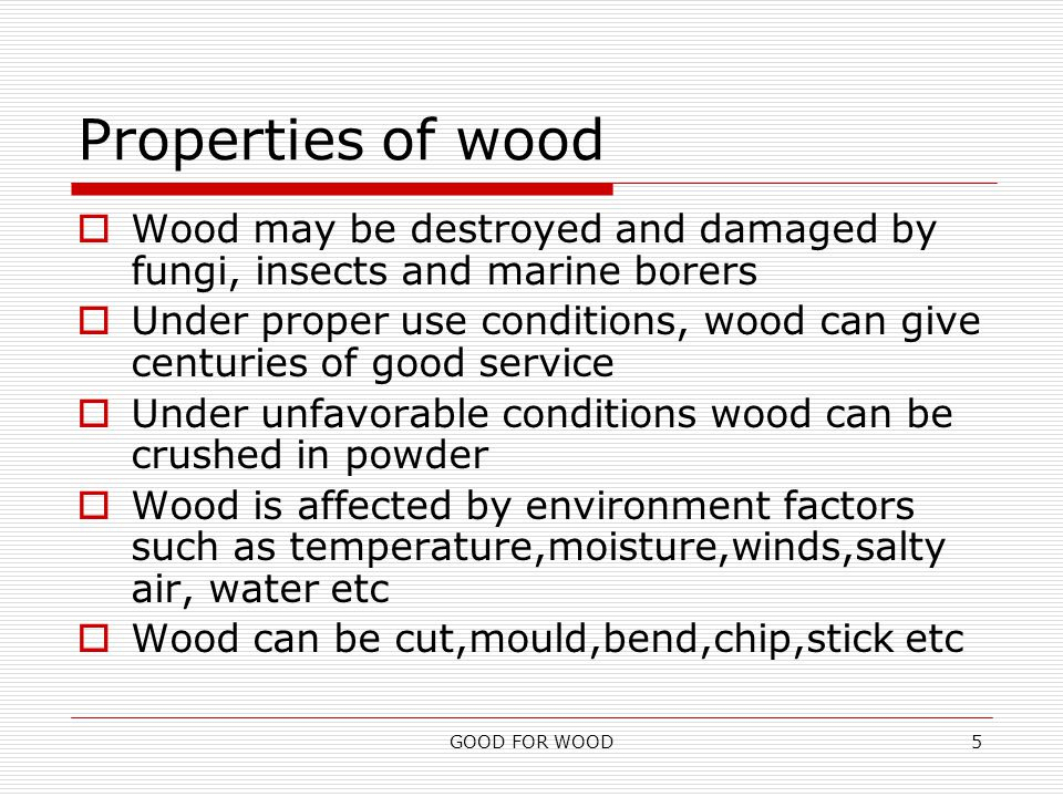 GOOD FOR WOOD5 Properties of wood  Wood may be destroyed and damaged by fungi, insects and marine borers  Under proper use conditions, wood can give centuries of good service  Under unfavorable conditions wood can be crushed in powder  Wood is affected by environment factors such as temperature,moisture,winds,salty air, water etc  Wood can be cut,mould,bend,chip,stick etc