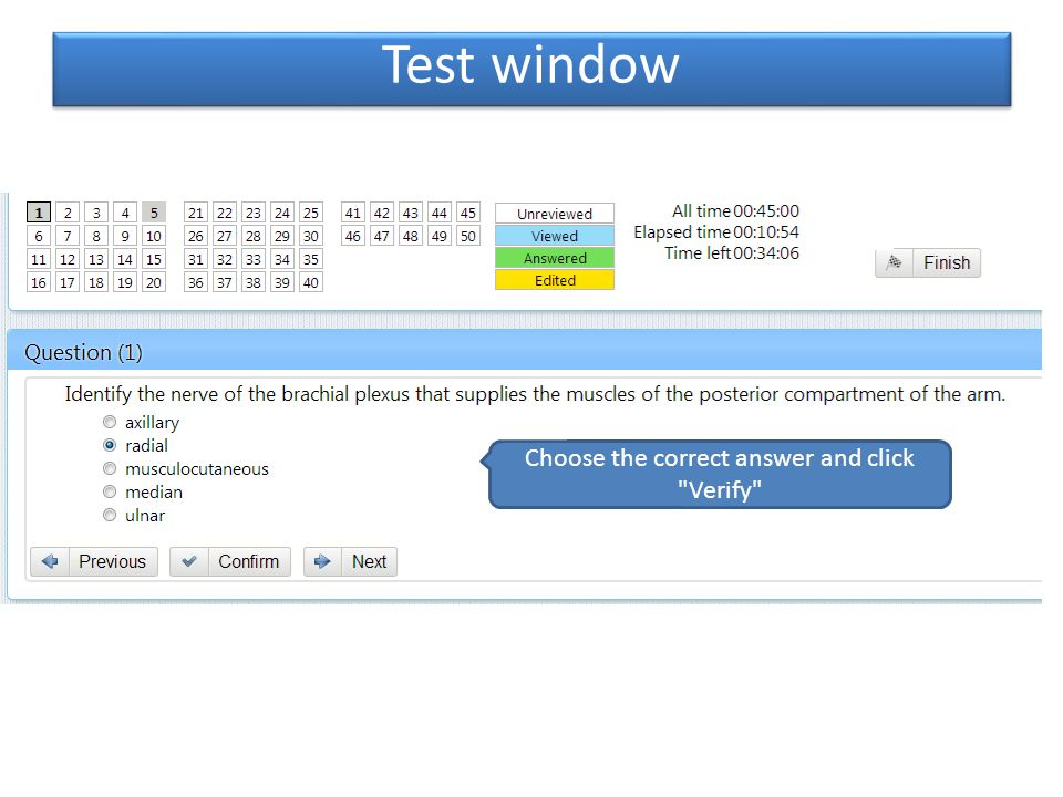 Test window Answered the questions, click Finish